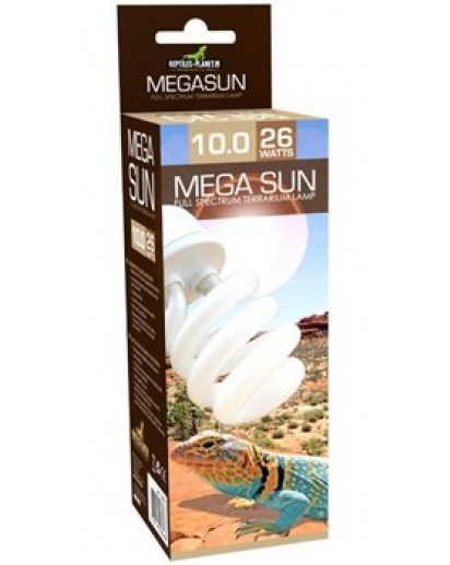 Mega Sun UVB 10.0 Lamp - 26W -(10% UVB- 30% UVA) 870575 by Reptiles-planet