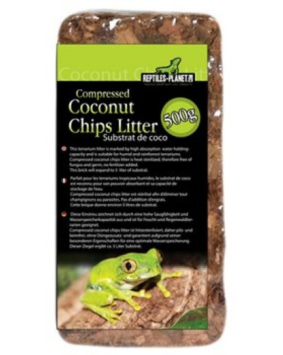 Compressed Coconut Chips Litter 500g 890574 by Reptiles-planet color Non